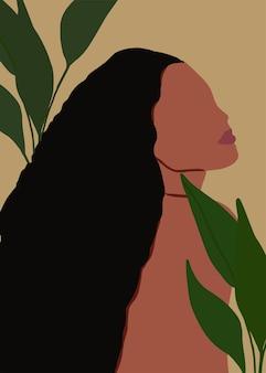 Креативная обложка в стиле бохо с пальмовыми листьями и портрет чернокожей женщины модный плакат