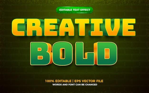 Creative bold yellow green 3d editable text effect