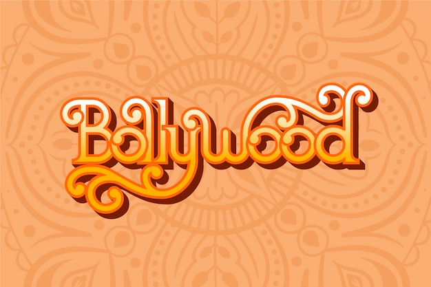 Creative bollywood lettering with mandala wallpaper