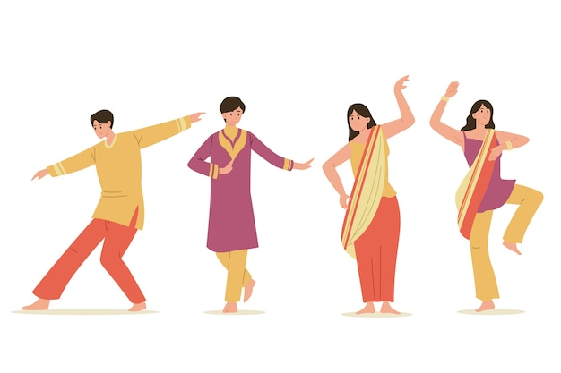 Creative bollywood party people dancing set