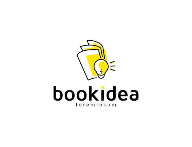 Creative book idea logo design with bulb illustration