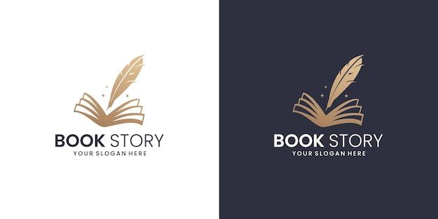 Креативный книжный логотип с шаблоном дизайна пера. книжная история перо логотип вдохновение.