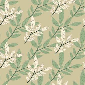 Креатив ботанический. деревенская листва лесных ветвей бесшовные модели. веточки и листья бесконечные обои.