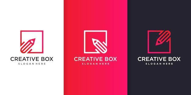 Premium vector 안에 연필 라인 아트 스타일이 있는 크리에이 티브 상자 로고