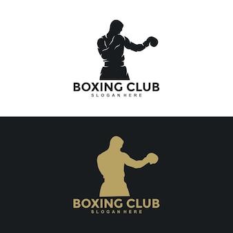 創造的なボクシングのデザインコンセプトのロゴ