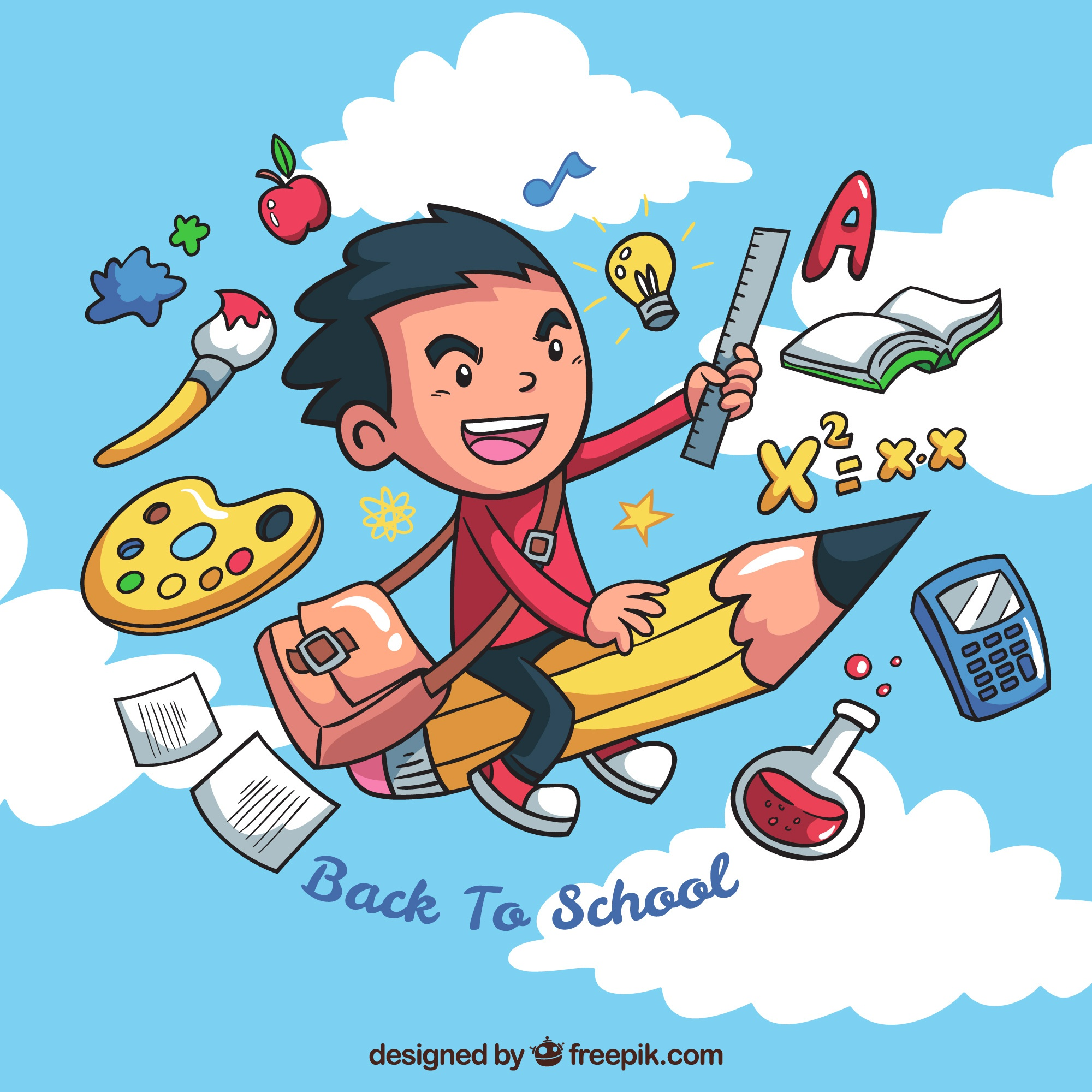 Creative boy background with school elements