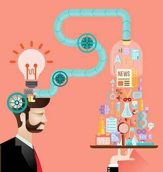 クリエイティブな脳のアイデアコンセ Premiumベクター