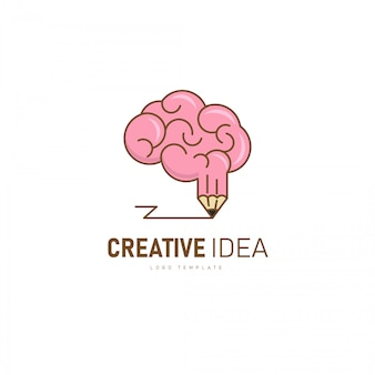 Creative brain logo. brain and pencil shape as a creative idea.