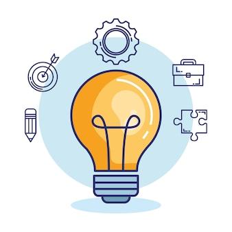 Creative brain set icons