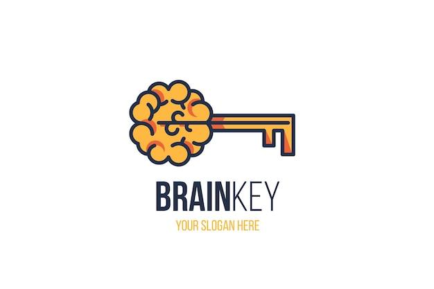 Творческий знак мозга с ключом и лозунг копией пространства на белом фоне. концепция эффективного мышления. новая идея, вдохновение, инновации, образовательный знак для дизайна логотипа компании