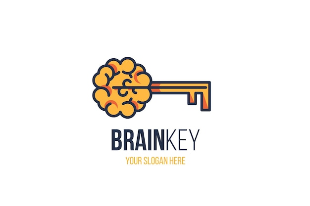 Creative brain sign with key and slogan copy space over white background. effective thinking concept. new idea, inspiration, innovation, education sign for company logo design