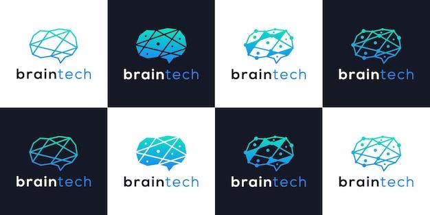 크리에이 티브 두뇌 기술 로고 디자인 스마트 기술 현대 컬렉션