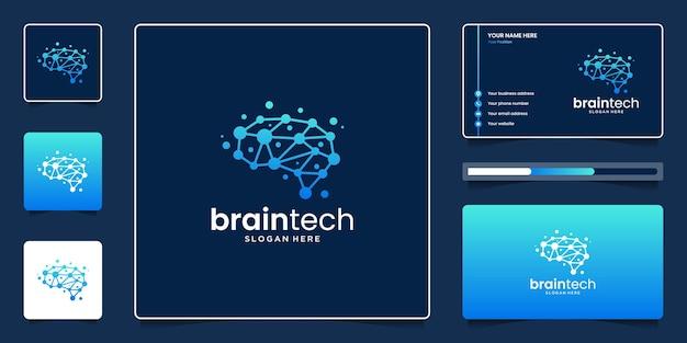 Creative brain tech logo design template, abstract smart mind for modern technology logo