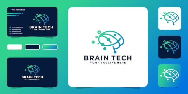 Creative brain technology logo design inspiration with interconnected connection lines and business card inspiration