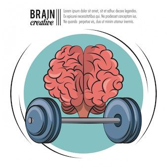 Creative brain with gym weights