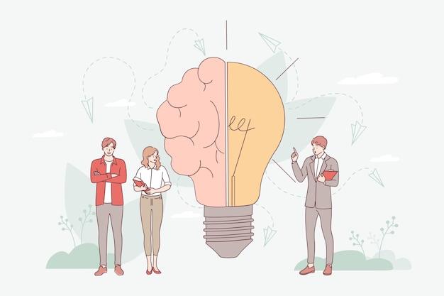 혁신적인 지식과 천재적인 접근 방식을 갖춘 창의적인 두뇌는 근처에 서있는 비즈니스 및 비즈니스 사람들에게 제공됩니다. 전구로 스마트 기호