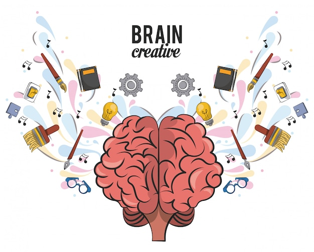 Creative brain with school supplies