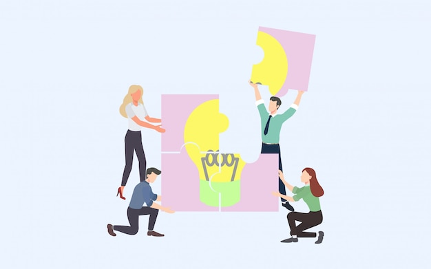Creative brainstorming business process and business strategy concept