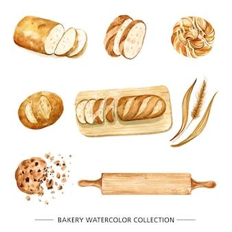 Творческий хлеб акварельные иллюстрации для декоративного использования.
