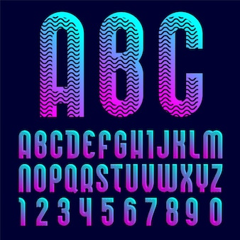 Creative bright font, alphabet in style of pop art.