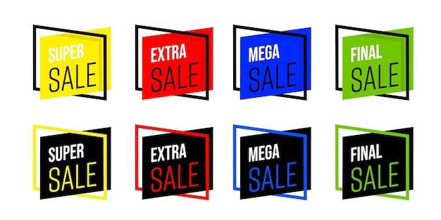 Креативная яркая распродажа стикер или набор шаблонов значков