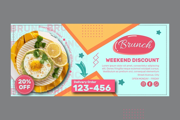 Modello di banner brunch creativo