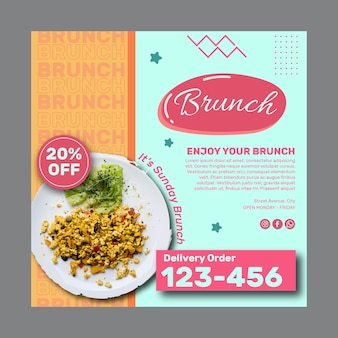 Creative brunch square flyer template