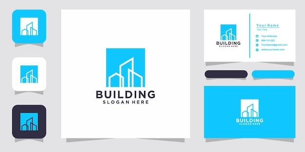 Creative building logo and business card design Premium Vector