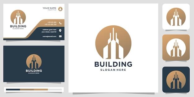 원형 모양의 모노그램 디자인과 명함 템플릿을 사용한 창의적인 건물 로고 영감.