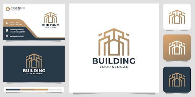 Creative building logo template with business card design. premium vector