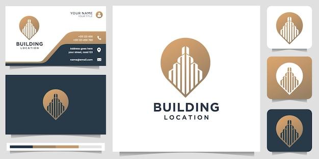위치 핀 마커 개념이 있는 창의적인 건물 로고. 로고 및 명함 템플릿 영감