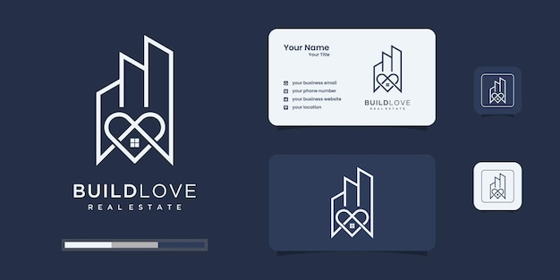 愛のコンセプトのロゴデザインのインスピレーションと創造的な建物のロゴ
