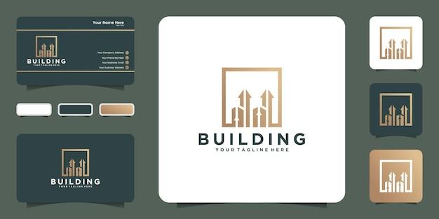 上矢印テンプレートと名刺デザインの創造的な建物のロゴ