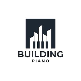 創造的な建物のピアノのロゴのシルエット