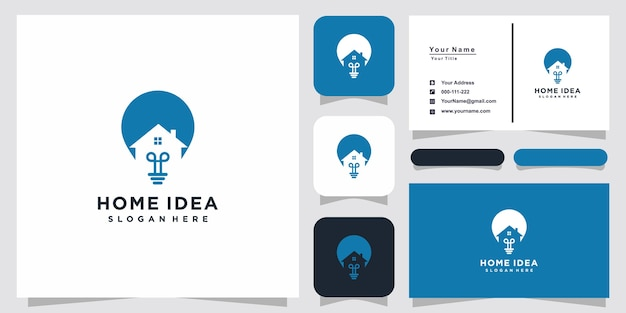 創造的な電球ランプと家のロゴと名刺のデザイン