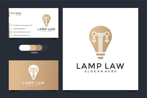 創造的な電球ランプと柱のロゴと名刺のデザイン