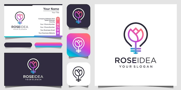 Creative bulb lamp combined with flower. logo and business card design .