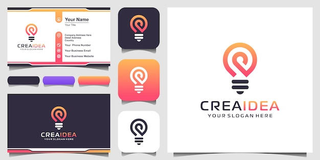 Creative bulb lamp logo icon and business card design