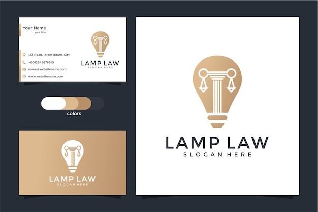 Creative bulb lamp and pillar logo and business card design