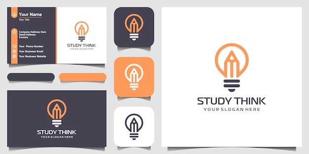 Creative bulb lamp with pencil logo and business card design.