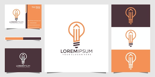 Creative bulb lamp with pencil logo and business card design