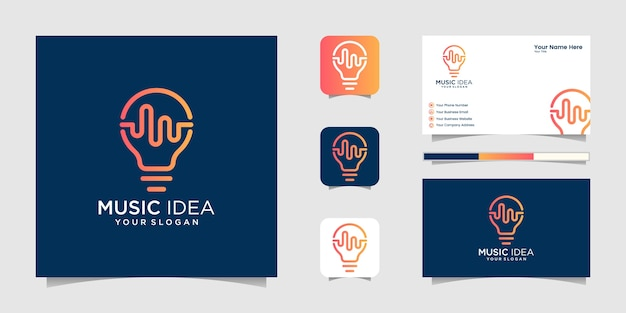 Creative bulb lamp with pulse or wave element, logo and business card design