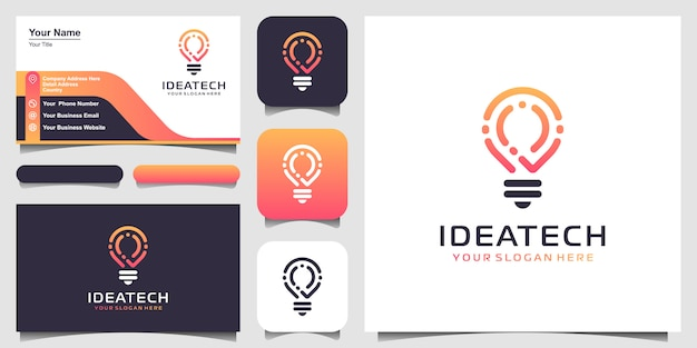 Творческий лампочка tech логотип и дизайн визитной карточки. идея творческой лампочки с технологической концепцией. технология цифрового логотипа bulb idea