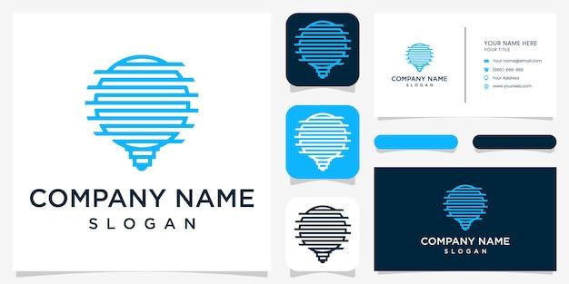 Креативный дизайн логотипа bulp и визитки premium vektor