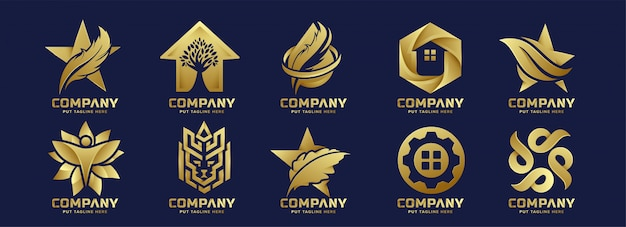Creative bundle abstract gold logo for company