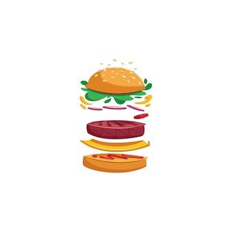 Creative burger cartoon  ilustration