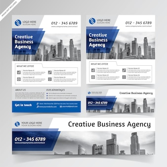 Creative business agency blue flyer, social media, and banner templates