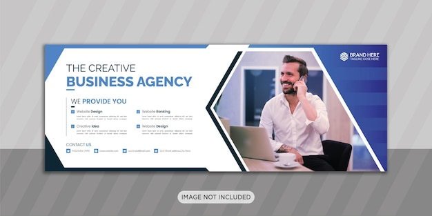 Creative business agency facebook cover photo design with creative shape or web banner design