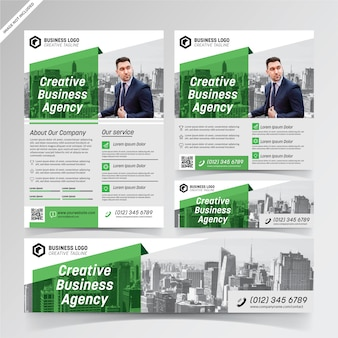 Creative business agency green flyer, social media, and banner templates