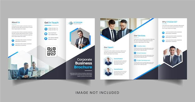 Creative business brochure design with blue and black color geometric shapes